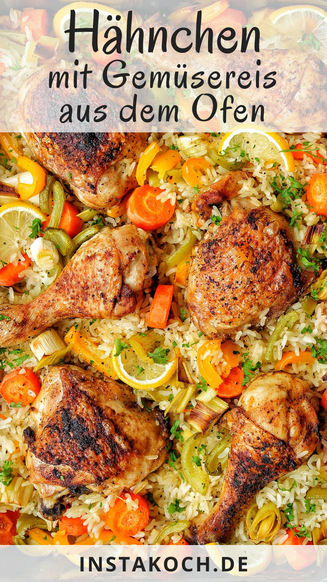 Photo of Oven-fried chicken with vegetable rice – simply delicious – click for a simple recipe