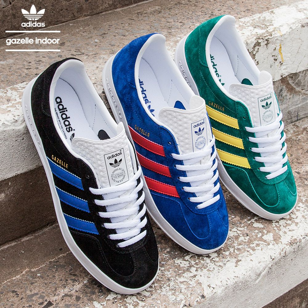 The #Adidas Gazelle Indoor Trainer in shades of Black, Royal