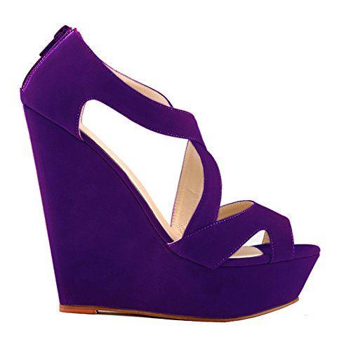 Loslandifen Womens Faux Velvet Platform High Heels Sandals Peep Toe Wedges Wedding Shoes391