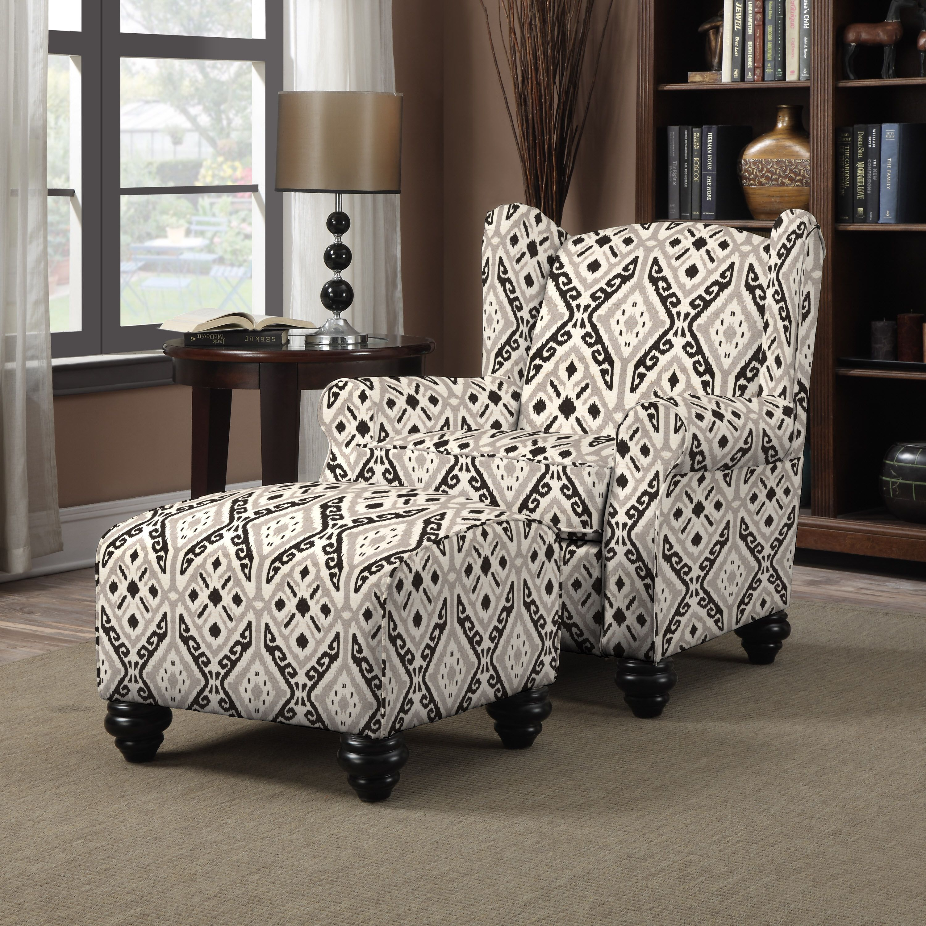 Portfolio hani grey and black ikat design chair and ottoman by portfolio living room
