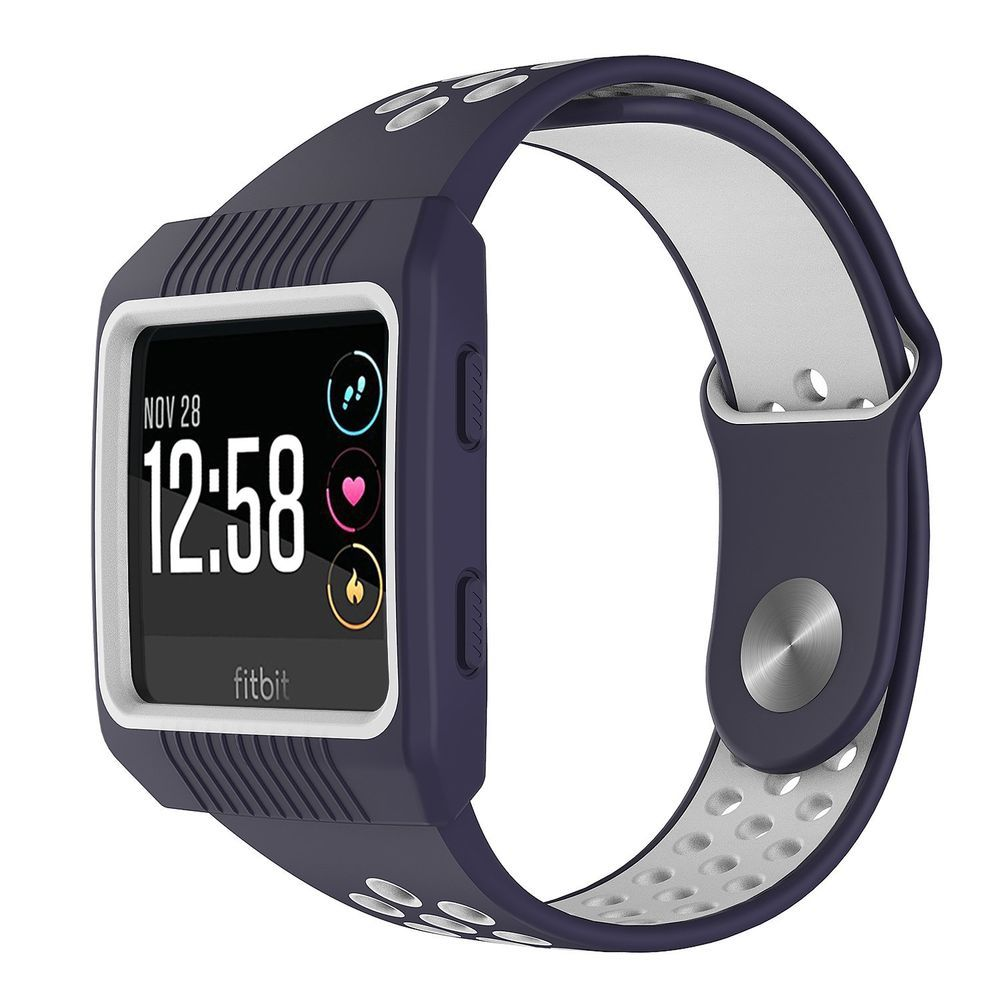 6bcbe73af For Fitbit Ionic Band Rugged Sport Strap Protective Frame Case Small Blue  New #ProtectiveFrameCase