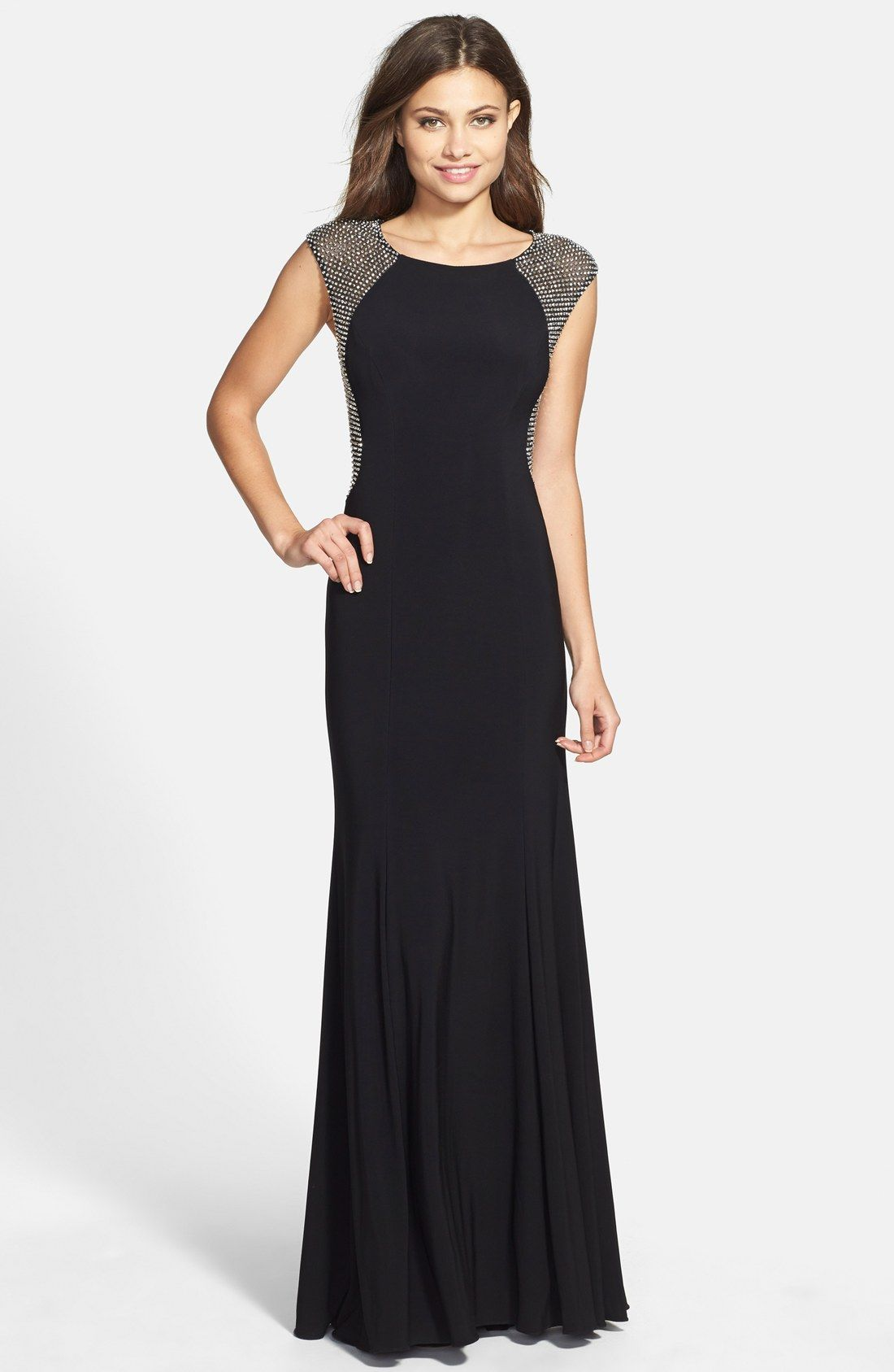 Xscape Crystal Back Jersey Gown (Regular & Petite) | Prom ...