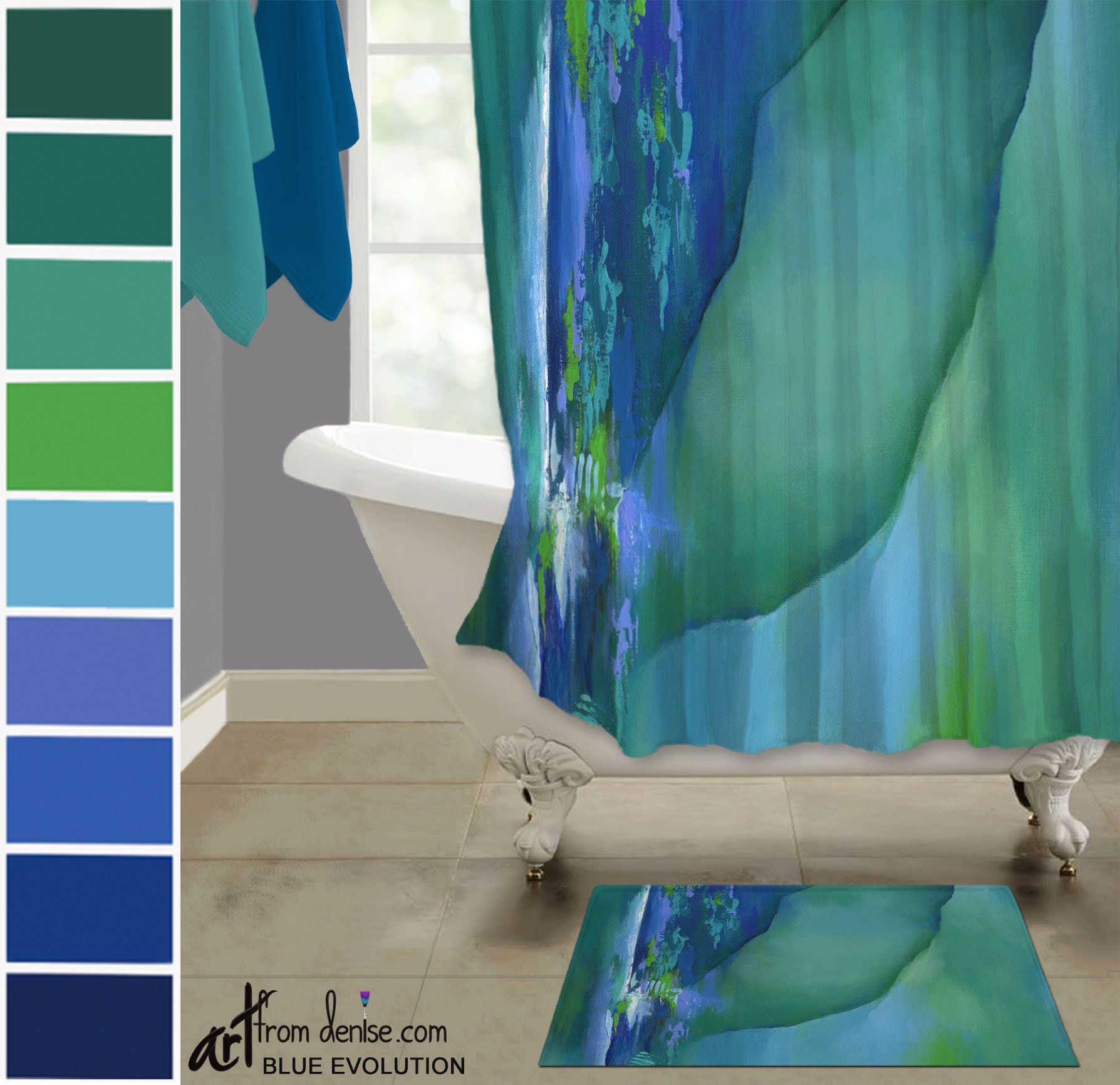 Teal Shower Curtain And Bath Mat Set Abstract Fabric Shower Stall