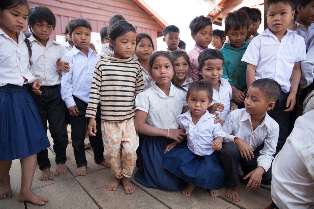 Children outside UWS Roy School, Cambodia (photo by Anna Willett)