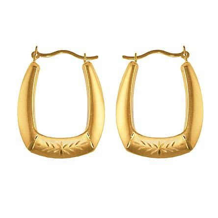 Pinched Oval Hoop Earrings 10K Yellow Gold.