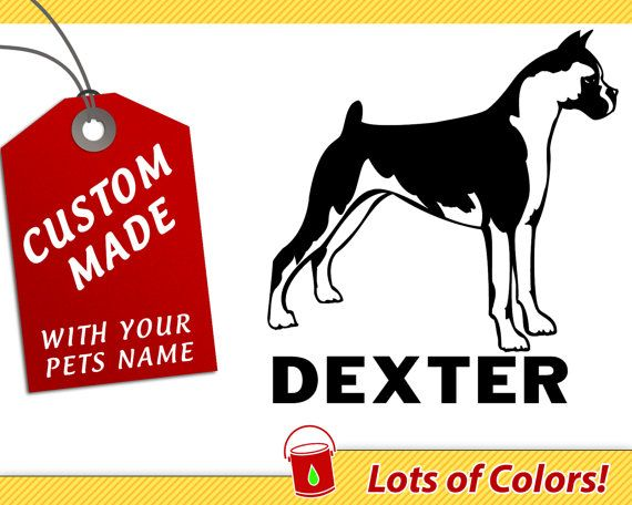 Personalized boxer breed vinyl decal with your dogs name any color custom dog sticker