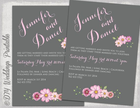 Wedding Invitation Template Gray Pink By Diyweddingsprintable