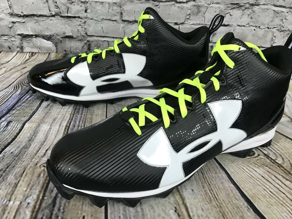 New ua under armour crusher rm football cleats black white