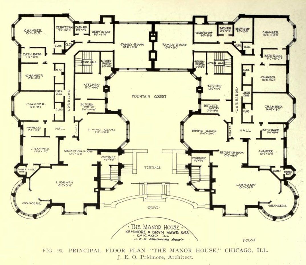 Floor plan of the manor house chicago floor plans for Estate blueprints