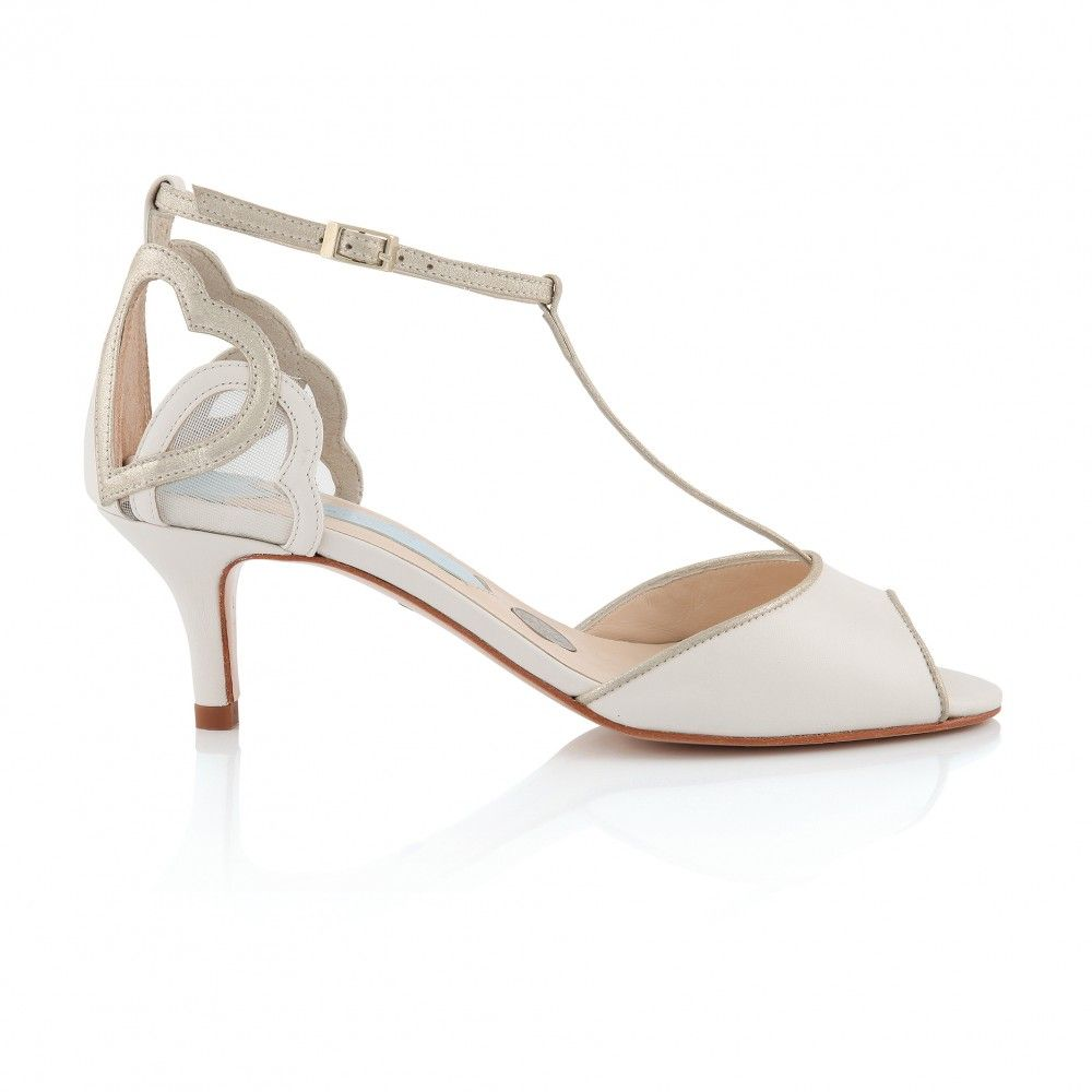 Amelia T Bar Vintage Inspired Wedding Shoe Charlotte Mills Bridal Shoe Ivory  Leather Pale Gold Champagne Hearts Sixpence In Her Shoe