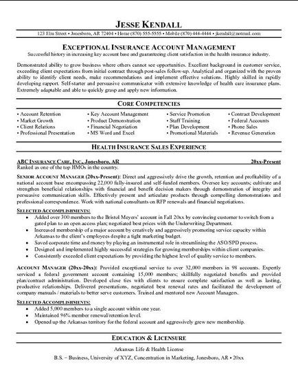 Pin By Donna Sipress On Resumes Sample Resume Examples Insurance Manager Commercial Lines Account