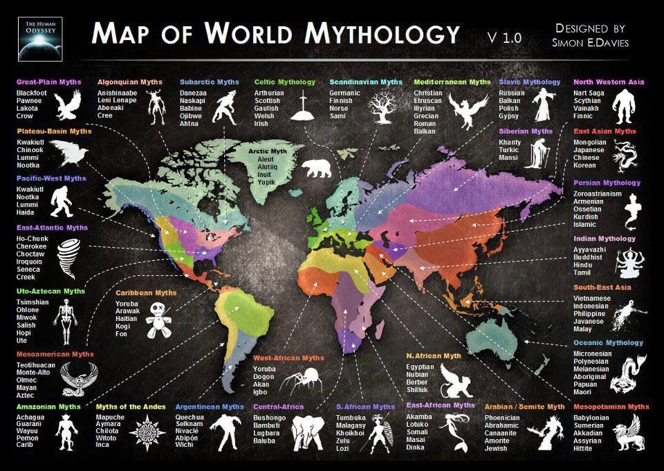 map of world mythology by simon e davies here there be dragons