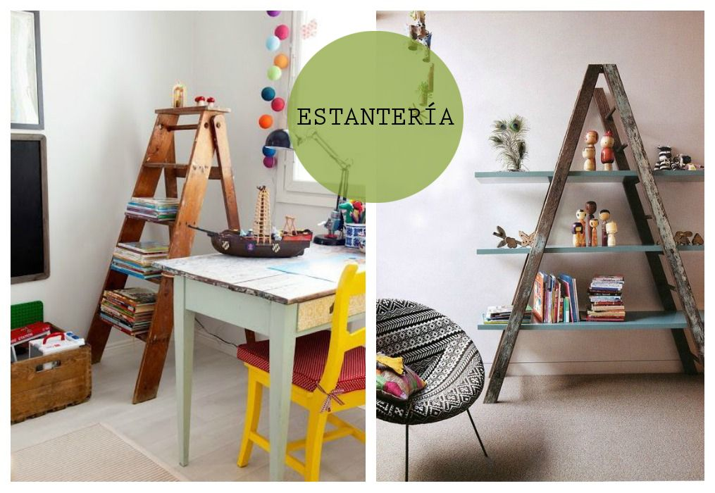 01 reciclaje escaleras estanteria ideas para reciclar renovar pinterest estanter as - Estanteria escalera casa ...
