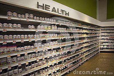 Vitamins Health Shop Shelves Pharmaceutical Products Health Shop Pharmaceutical Health