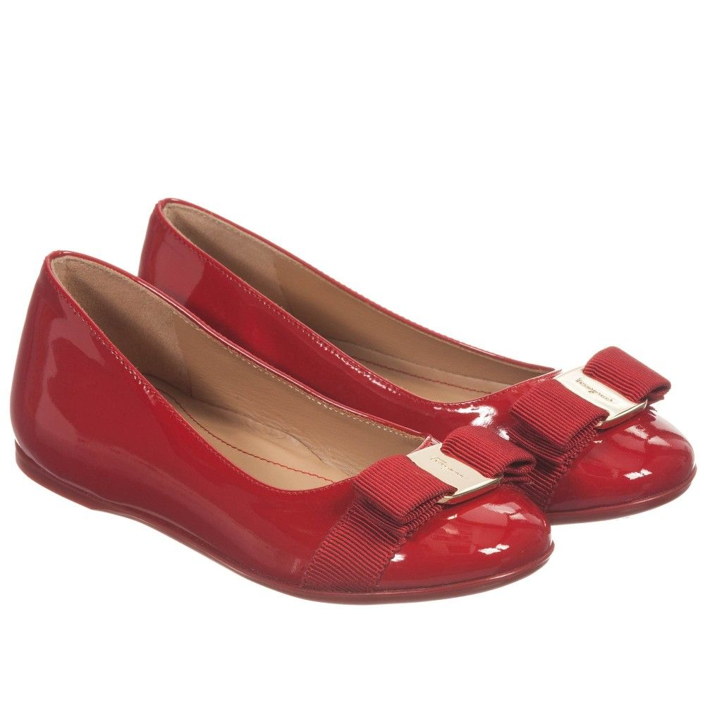 d710867a9 Girls Red Patent Leather 'Varina' Shoes, Salvatore Ferragamo Mini, Girl