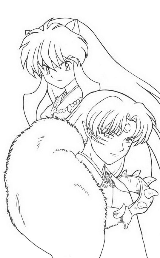 Inuyasha Fargelegging Tegninger 9 Inuyasha Coloring Books Anime Lineart