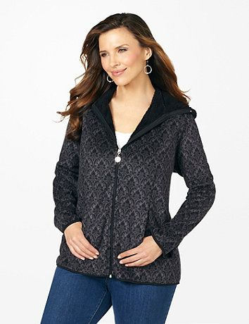 The softest style of the season, our new jacket comes in brushed fleece on the outside and an even cozier fleece inside. Our brilliant tapestry print is perfect for adding a pop of pattern to your favorite outfits. Zip opening with flourish zip pull. Fleece hood. Princess seams. Long sleeves with scalloped ends. Catherines jackets are styled exclusively for the plus size woman. catherines.com