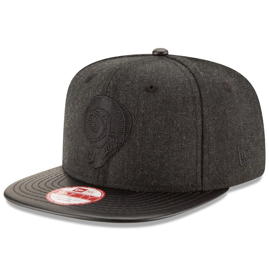 separation shoes 8efd0 c7184 Men s Los Angeles Rams New Era Heathered Black Black Leather Match Original  Fit 9FIFTY Snapback Adjustable Hat, Your Price   27.99
