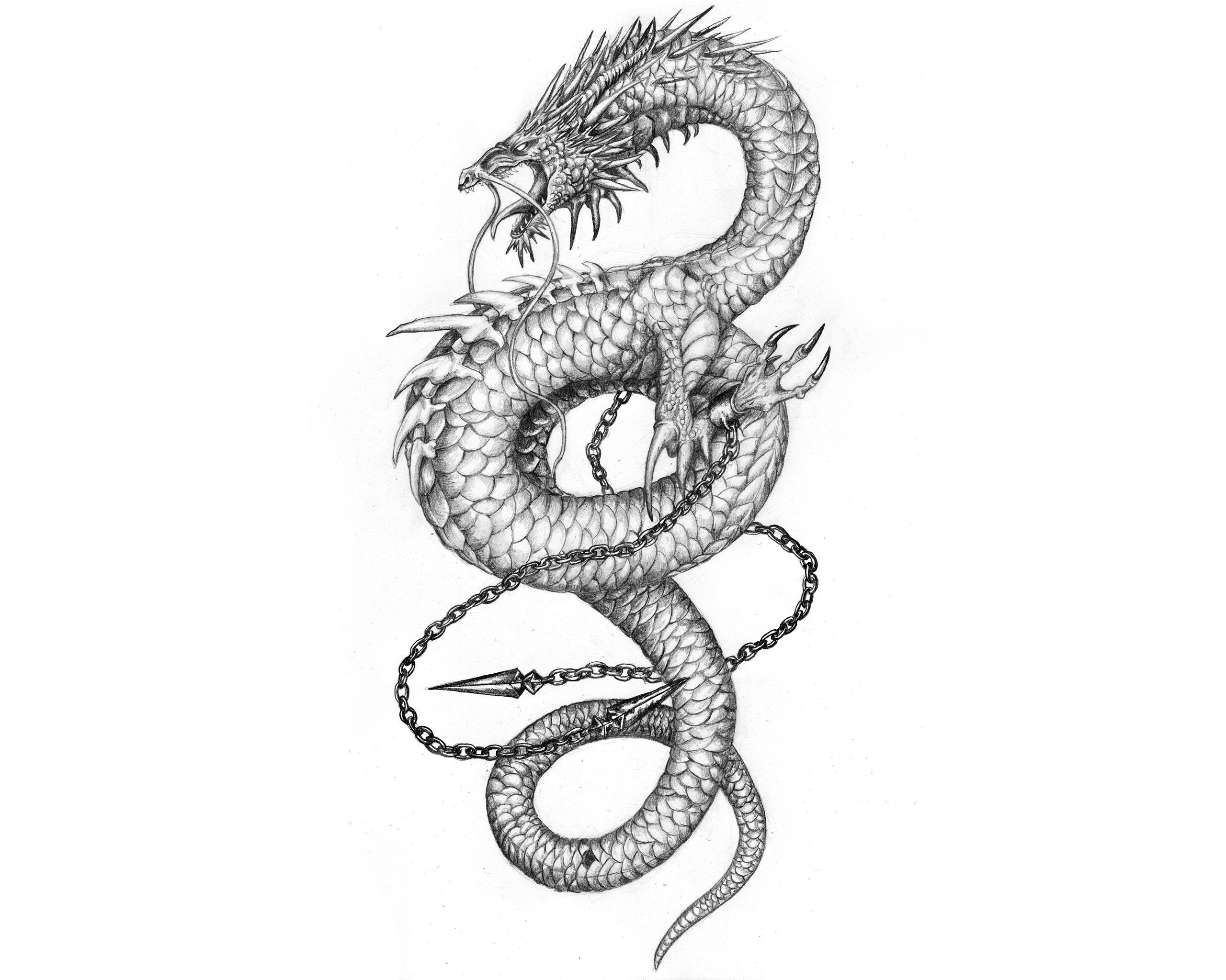 chinese dragons with flowers tattoos Chinese Tattoos