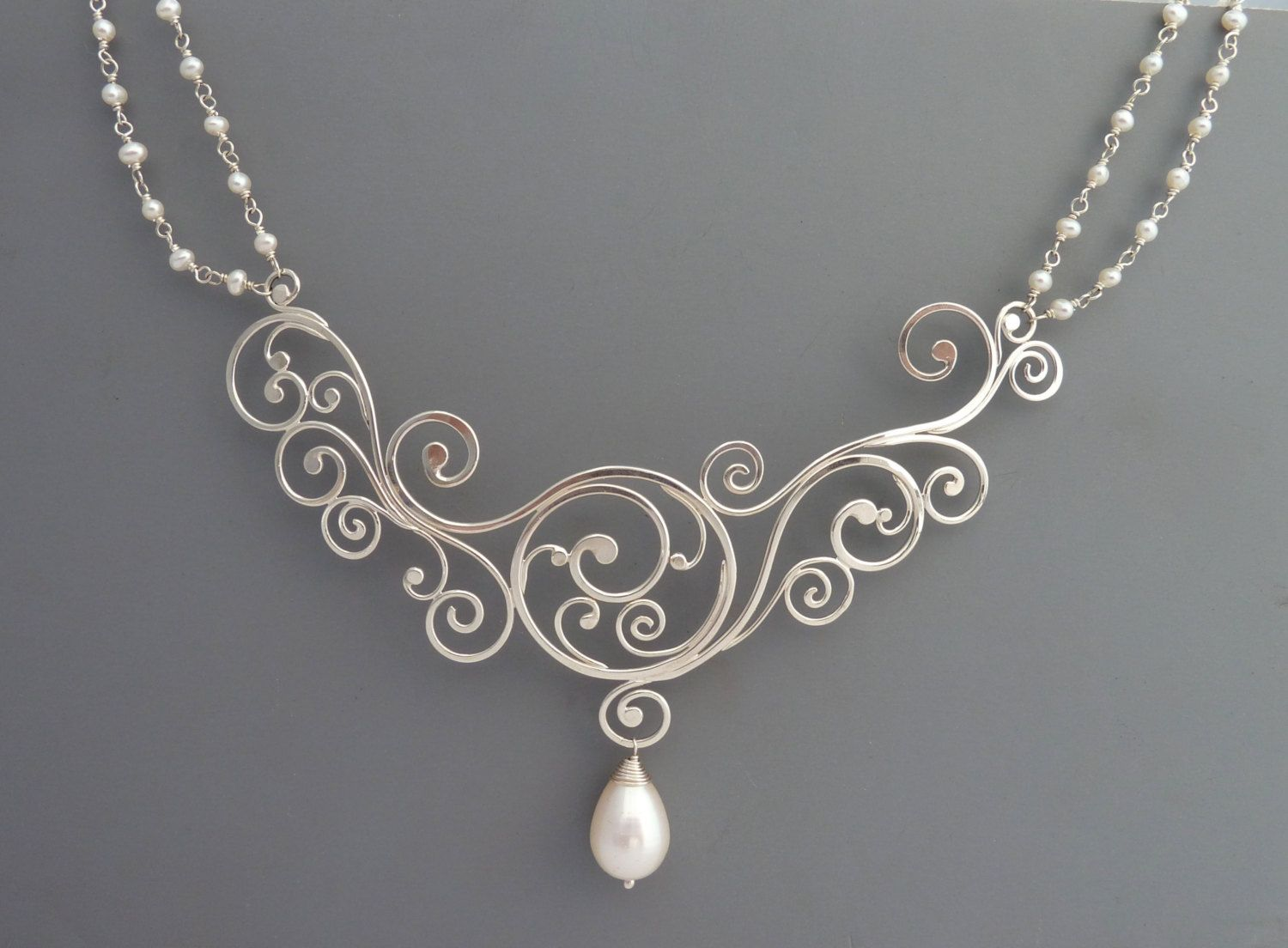 Elegant sterling silver twisting vine necklace with pearls, Rachel ...