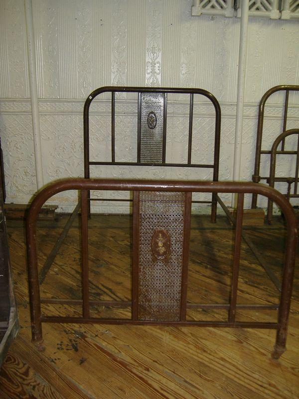 Art Nouveau Bed Vintage Antique Metal Brown Painted Full