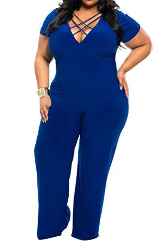 e7da6004dca7 Fashion Bug Sexy Deep V Neck One Piece Plus Size Jumpsuit Rompers  www.fashionbug.us  PlusSize  FashionBug  Jumpsuits