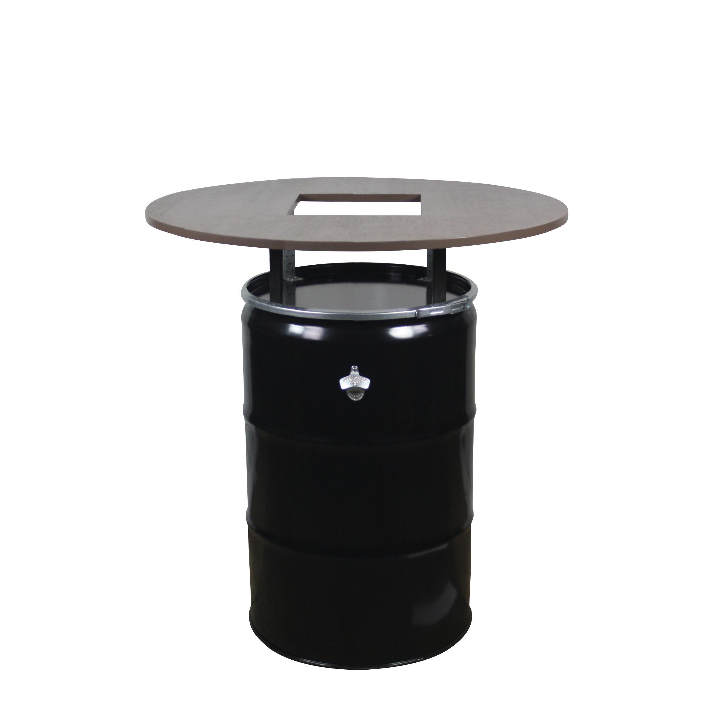 Grilltisch Bestehend Aus Stahlfass Halterungen Tischplatte Und
