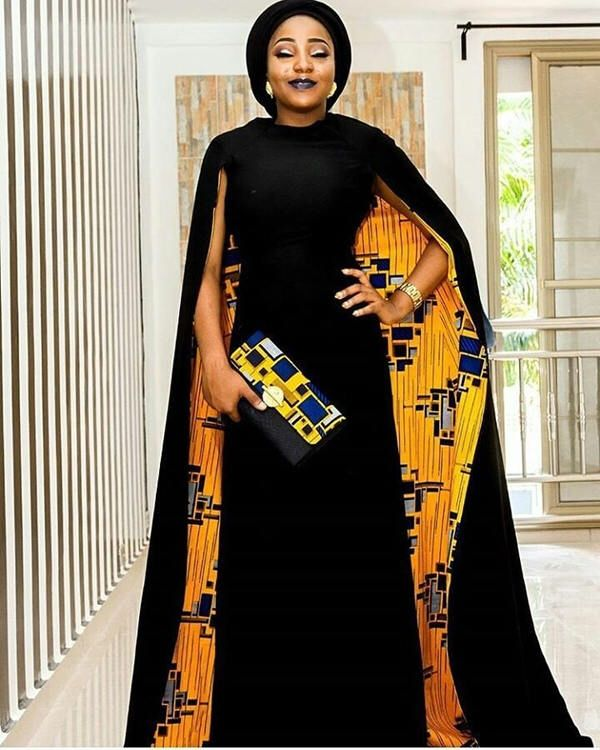 African dress with cape / African dresses / African maxi dress / African clothing / Ankara maxi dress / African prom dress #africandressstyles