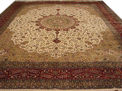Luxury 13 X 15 Ivory Tabriz Silk Rug Handmade Traditional