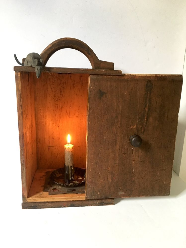 19th C Country Candle Lantern Candle Box Make Do Lantern In Paint