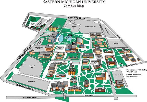 Eastern Michigan University Map in 2019 | Eastern michigan ...