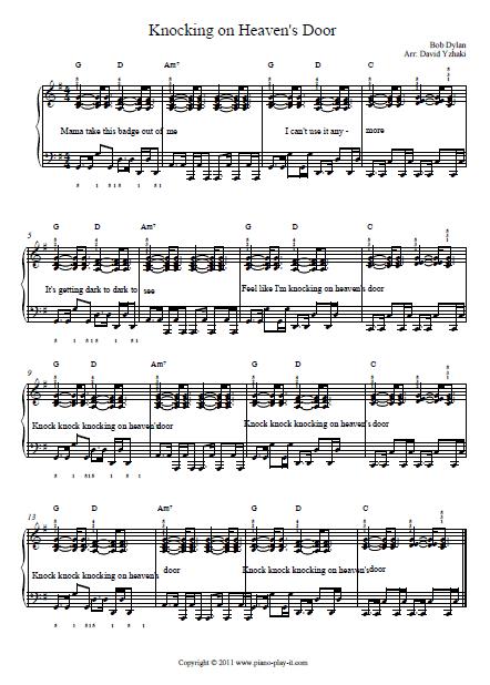 Knocking On Heaven S Door Piano Tab Piano Tutorial Knock Knock Piano Tabs