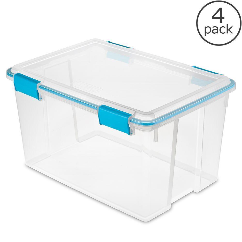 Sterilite 6 Qt Storage Box in White and Clear Plastic Storage