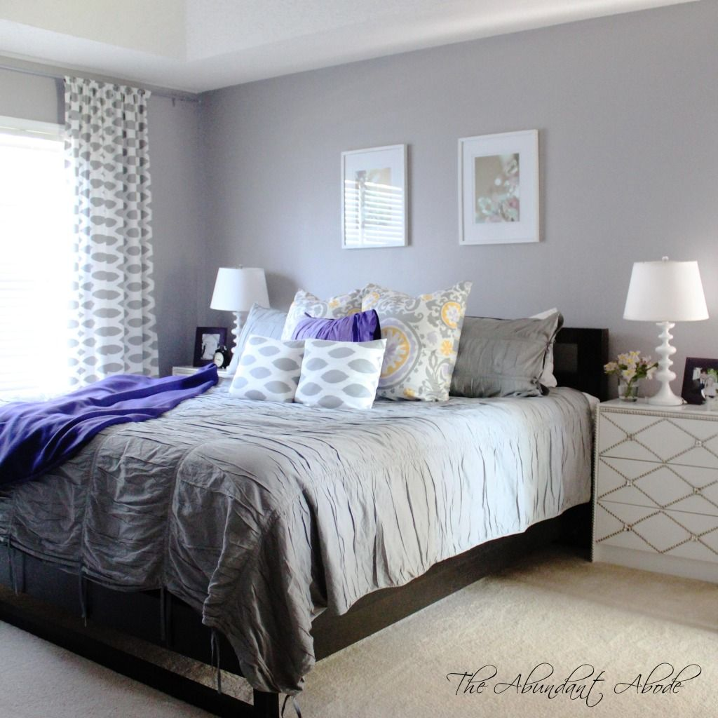 Violet bedroom color ideas - Light Gray Bedroom And Purple Design Ideas