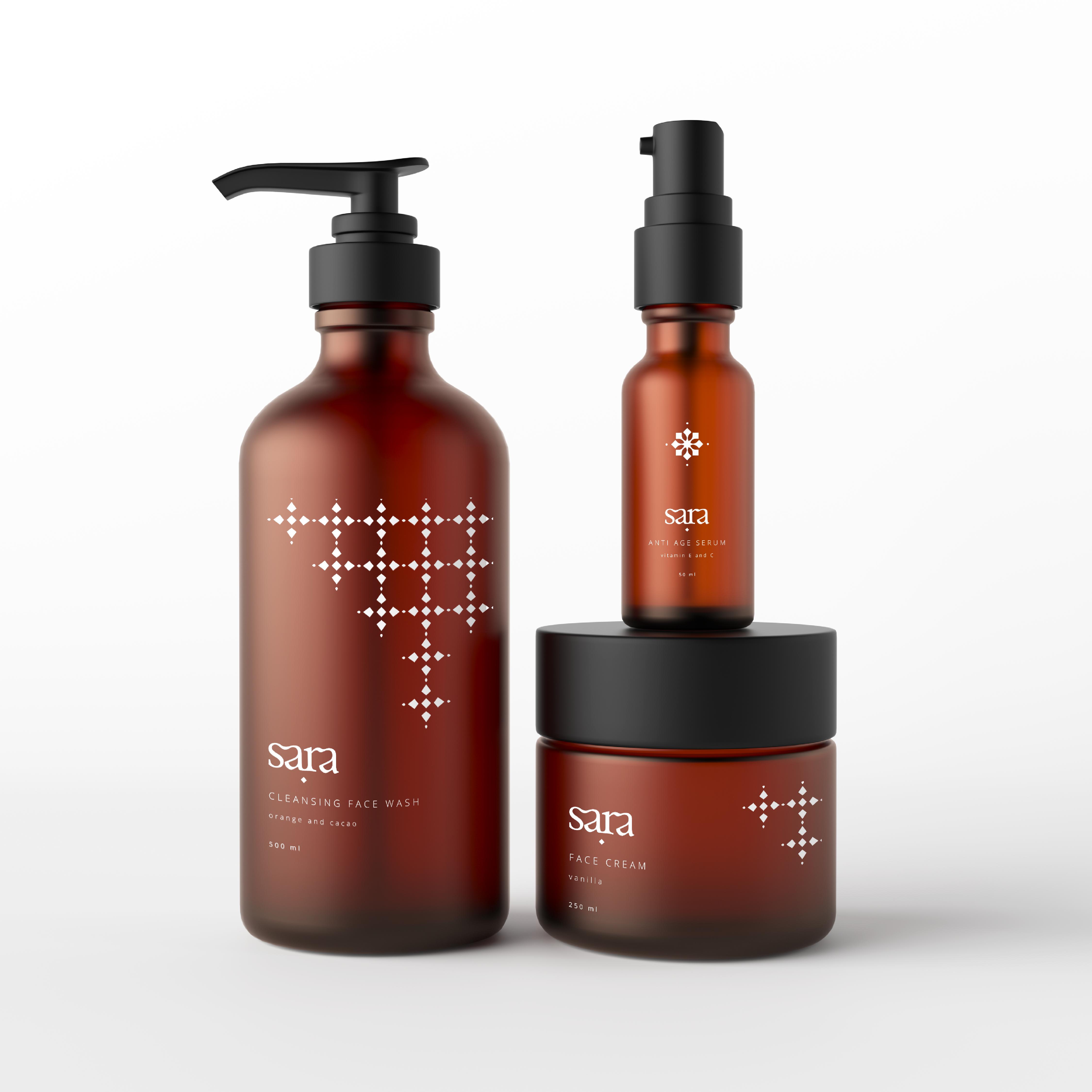 Sara natural cosmetics brand. tinaperkodesign packaging