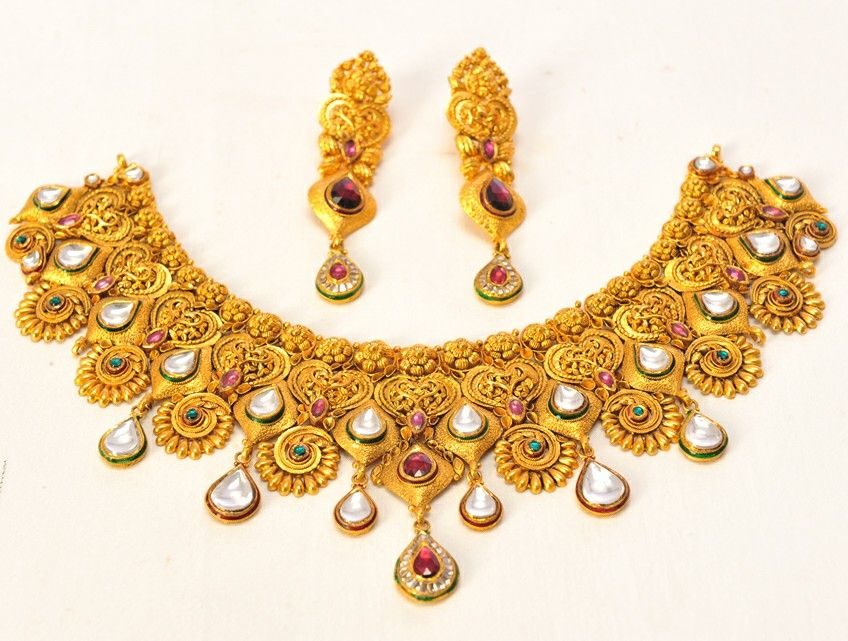 Bridal gold jewelry. Ruby and kundan finishing. Amin jewelers ...