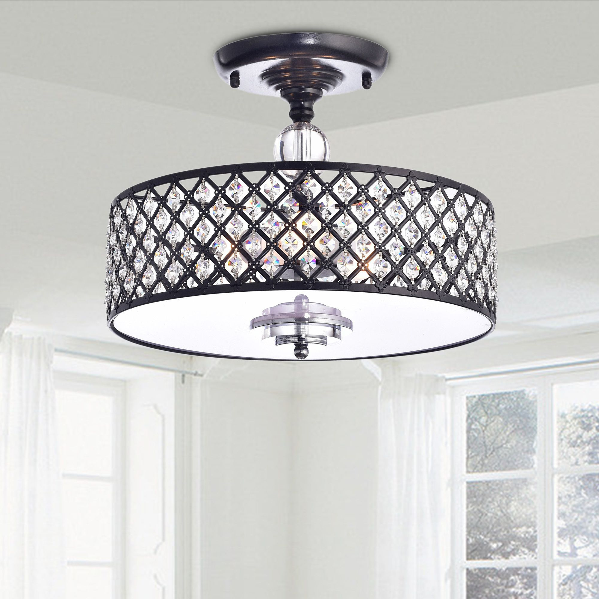 Silver Orchid Taylor Antique Black Crystal 3 Light Flush Mount Chandelier