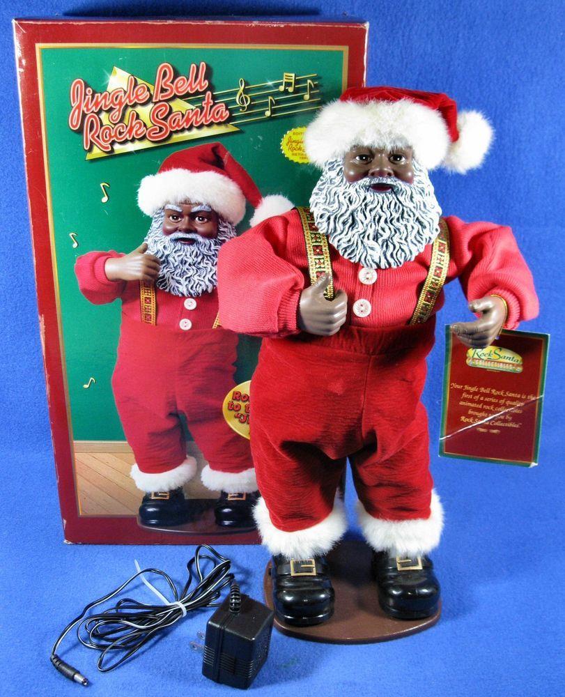 1998 Edition 1 Black Jingle Bell Rock Santa Claus Dancing Animated Original Box Jingle Bell Rock