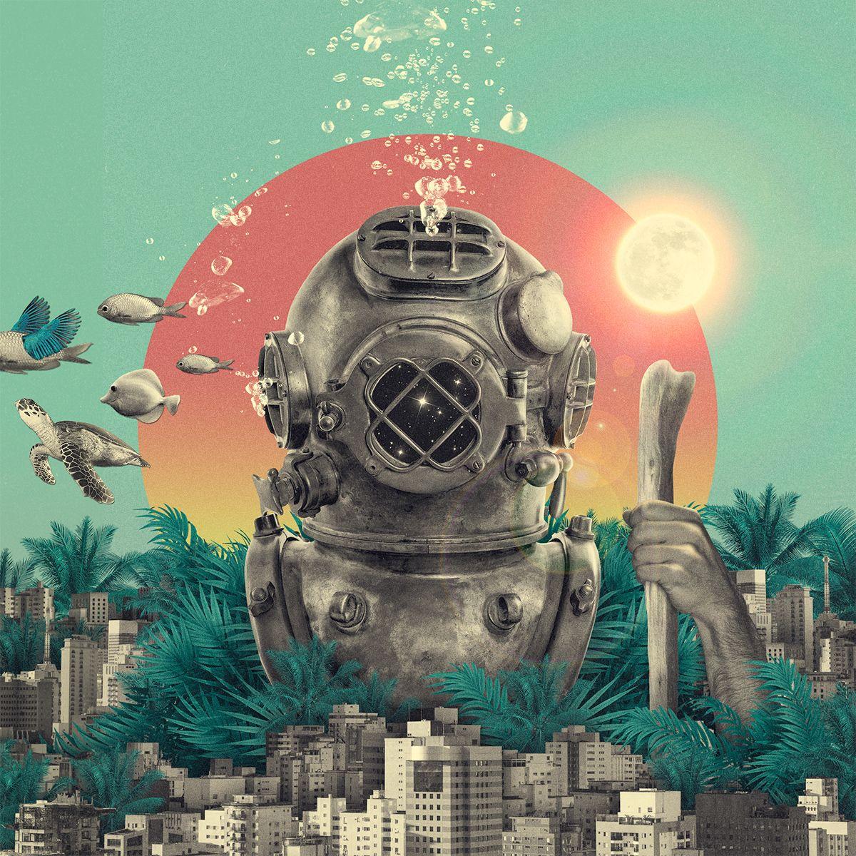 Illustration/Collage and cover design for latin-american electronic music producers Spaniol & Meraki.Sonido Trópico   Brasil   2016
