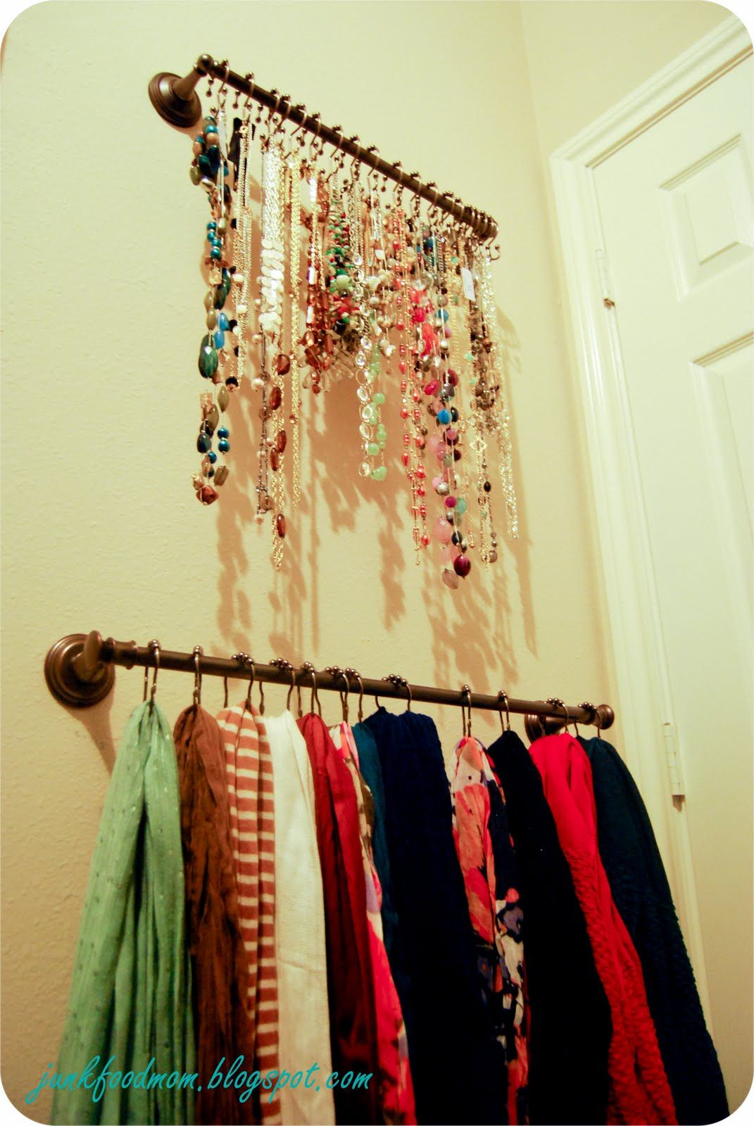 Closet organization: Necklace and scarf storage - towel bars with shower  hooks-really love this idea! Could put on the inside of the closet door, ...