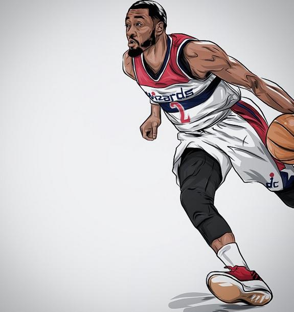 John Wall Quick Fast Illustration Hooped Up John Wall Nba Pictures Nba Basketball Art
