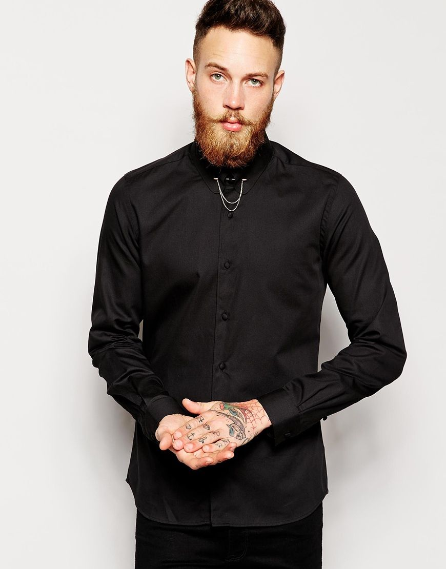 45f92624d08b Men's Black Shirt With Gold Collar Bar & Chain In Super Skinny Fit ...