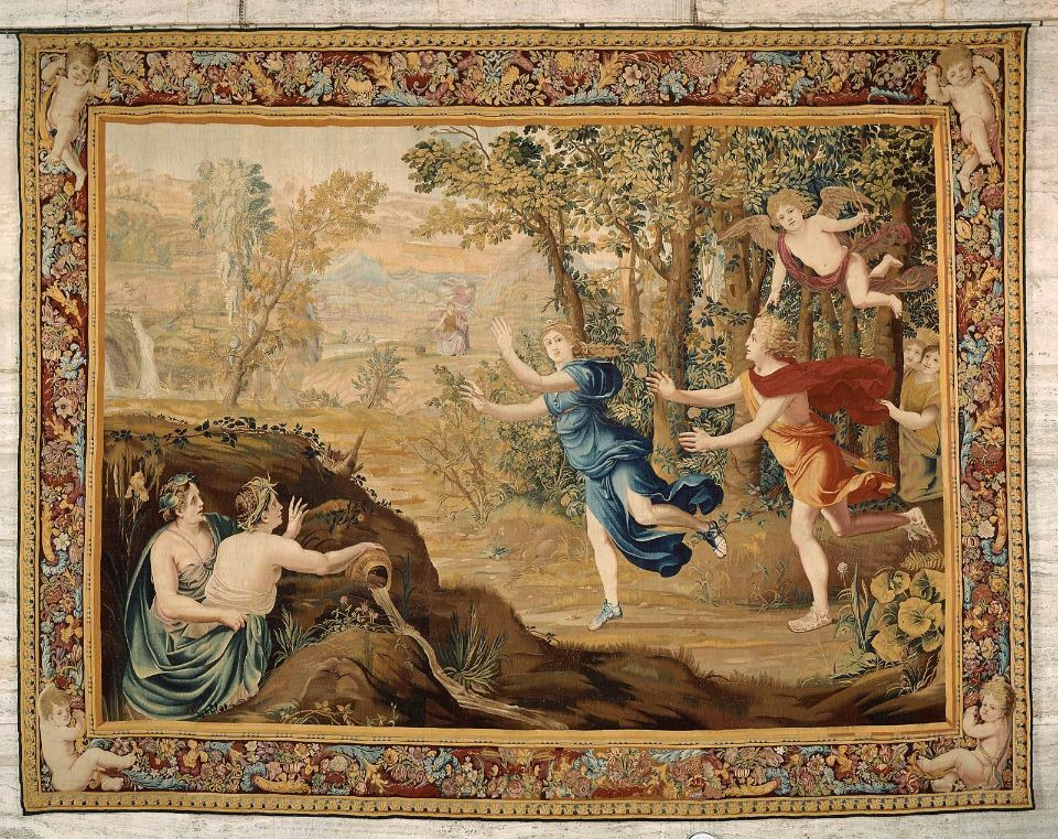 Tapestry Apollo Pursuing Daphne From The Series The Story Of