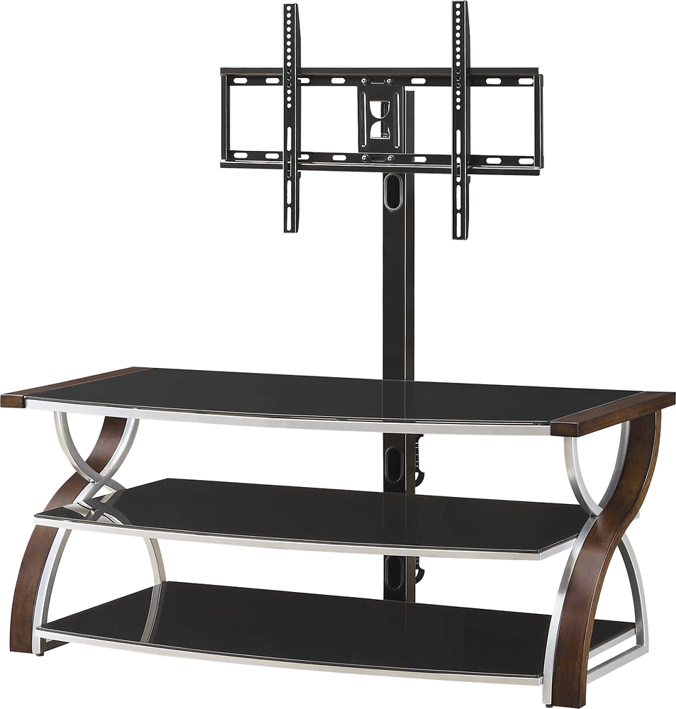 Whalen Furniture 3 In 1 Console For Most Flat Panel Tvs Up To 65 Brown Cherry Bbxl54nv Whalen Furniture Flat Panel Tv Swivel Tv Stand