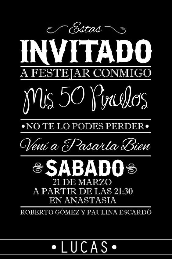 Tarjeta Cumpleaños De 50 50 Party Birthday Tarjeta De