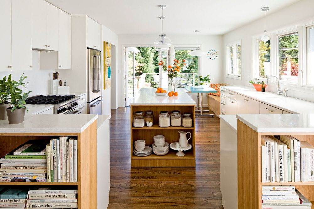 kitchen with white lacquer and bamboo cabinets midcentury modern home kitchen design - Bamboo Kitchen Decor