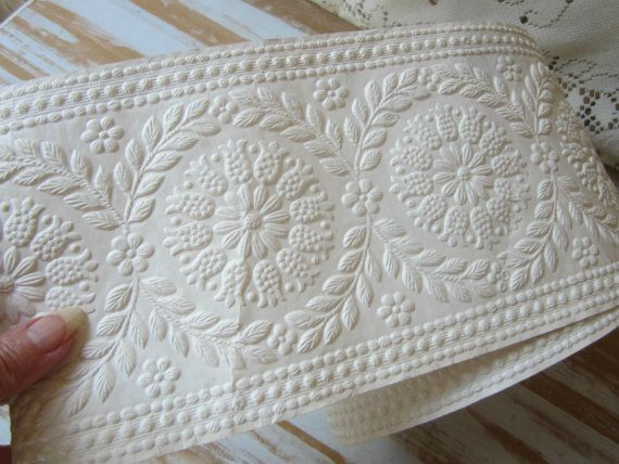 Over 5 Yds Wallpaper Border Embossed Cream By VintageSouthernPicks