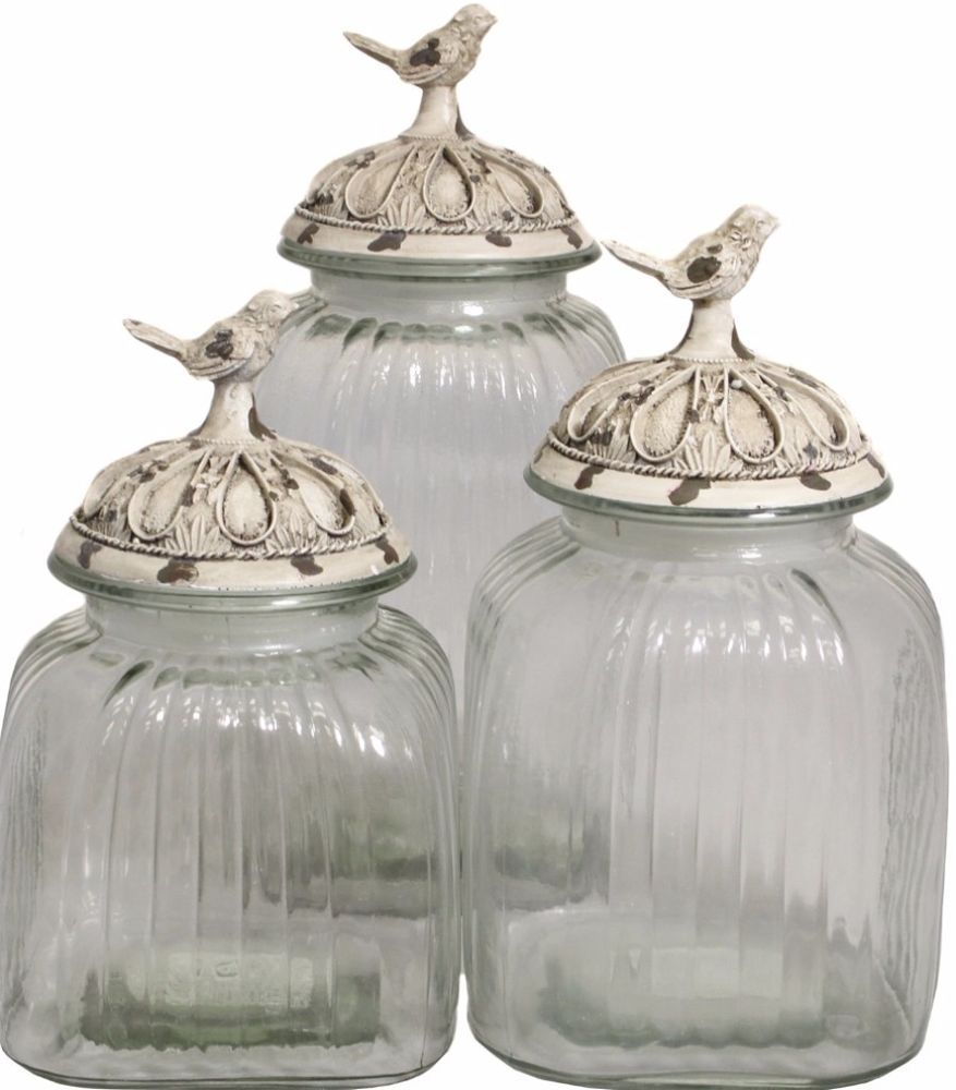 Glass Canister Set Set Of 3 With Lid Decorative Jars Clear Kitchen Decor New Canister Glass Canister Set Kitchen Jars Storage Canister Sets