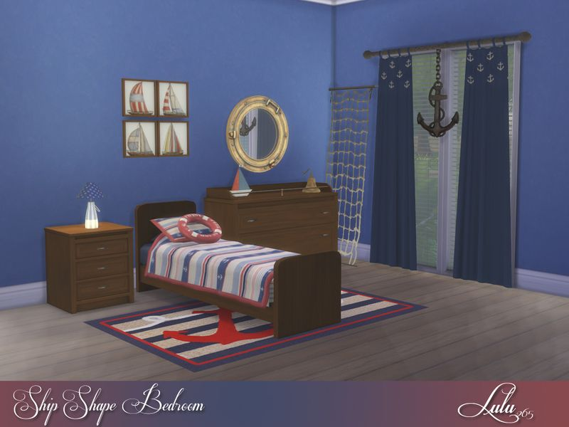 A lovely nautical themed room for little boys, most items have 4 colour variations  Found in TSR Category 'Sims 4 Kids Bedroom Sets'