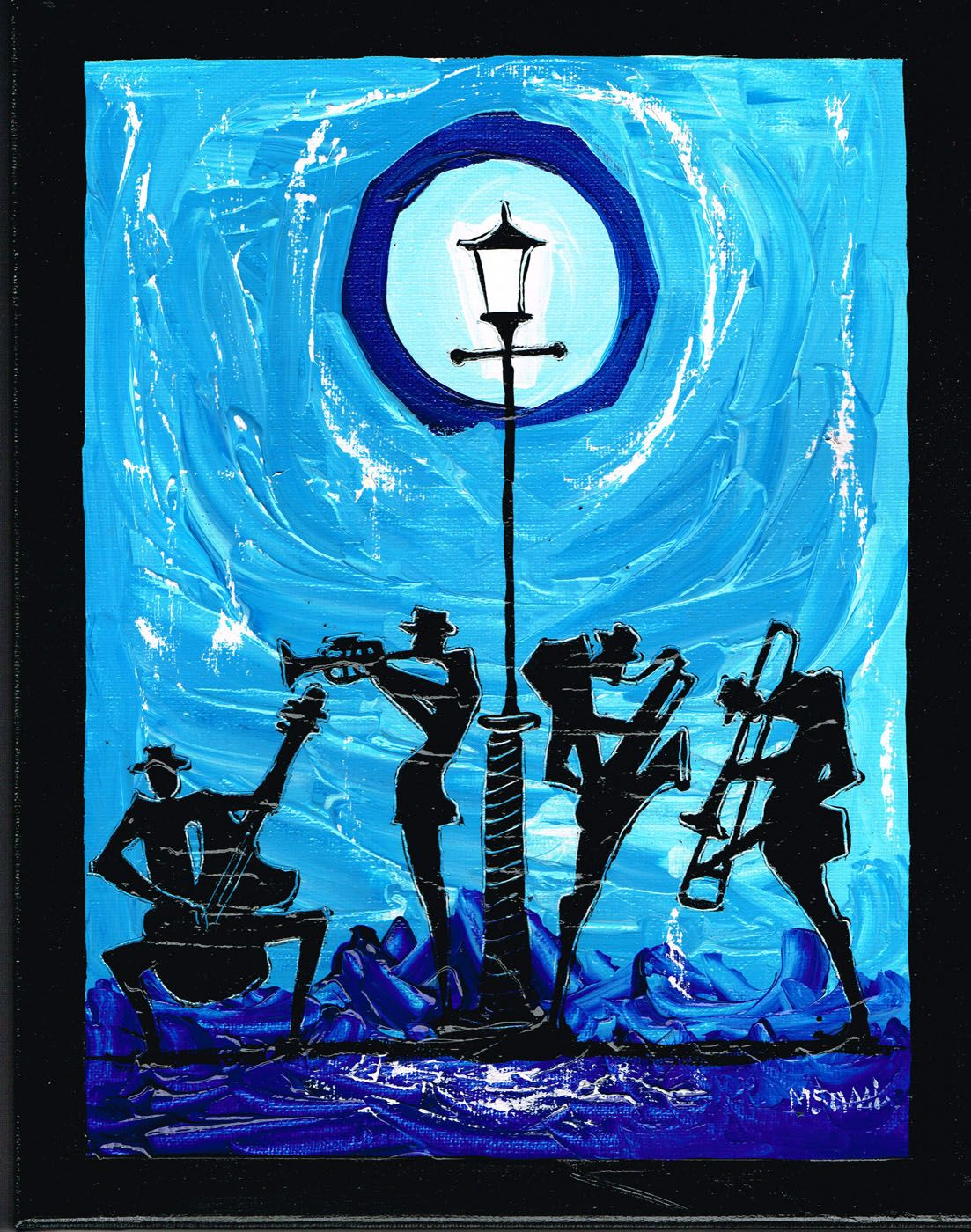 Cool blues for some cool jazz original acrylic painting